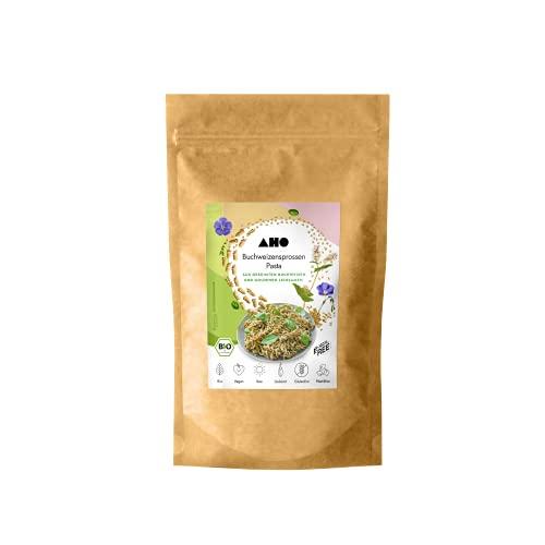 AHO Buchweizensprossen Pasta 250g, Glutenfreie Bio Spirelli aus gekeimtem Buchweizen und goldenen Leinsamen, Plastikfrei verpackt