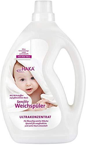 HAKA Weichspüler Sensitiv I 2 Liter I Umweltfreundlicher Weichspüler für Babys und Allergiker I Mit Aloe Vera I Ohne Farb- und Konservierungsstoffe für empfindliche Haut