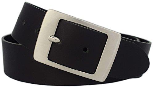 GREEN YARD Ledergürtel Damen schwarz - 100% echtes Leder - 4 cm breit für Jeans - Made in Germany, Schwarz,110 cm Bundweite = 125 cm Gesamtlänge