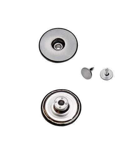 Ista Tools Jeansknöpfe Metallknopfe mit beweglichem Sockel Rostfrei in 14mm, 17mm und 20mm zur Auswahl (10 STK. mit Nieten, 14mm Schwarz Nickel-frei)