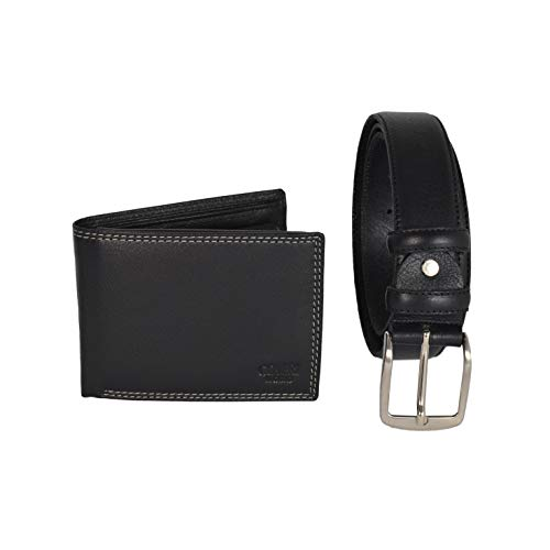 COVERI, Herren Geschenkbox, Set mit kürzbarem Gürtel Nickelfrei Schwarz Schlüsselbund und Gürtel -