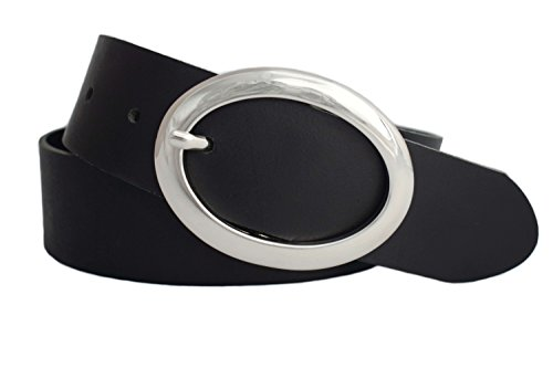 GREEN YARD Gürtel Damen – Ledergürtel Damen schwarz - Damengürtel schwarz aus echtem Leder 4 cm breit - 70 bis 145 cm #472 (105 cm (Gesamtlänge 120cm))