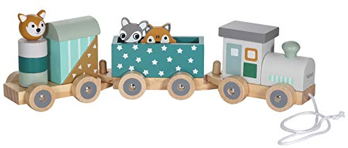 Kindsgut Holz-Eisenbahn, mit Holzbausteinen und Zoo-Tieren, dezente Farben und hochwertige Qualität, umweltfreundliche Materialien und frei von Schadstoffen, Sterne