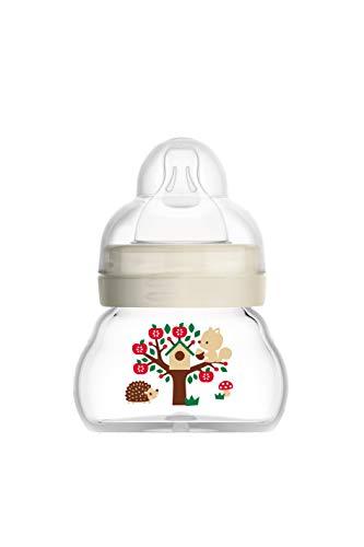 MAM Feel Good Babyflasche aus Glas (90 ml), Babyflasche mit weiter Öffnung, stabile Baby Trinkflasche mit Sauger Gr. 0 aus SkinSoft Silikon, ab der Geburt, beige