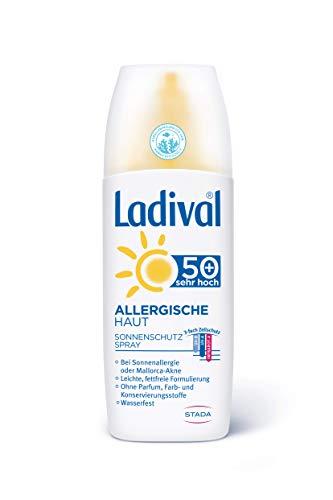Ladival Allergische Haut Sonnencreme Spray LSF 50+ – Parfümfreies, Sonnenspray für Allergiker – ohne Farb- und Konservierungsstoffe, wasserfest – 1 x 150 ml