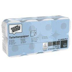 Clean and Clever SMA101 Toilettenpapier weiß 3-lg. 8 x 8 Rollen à 250 Blatt
