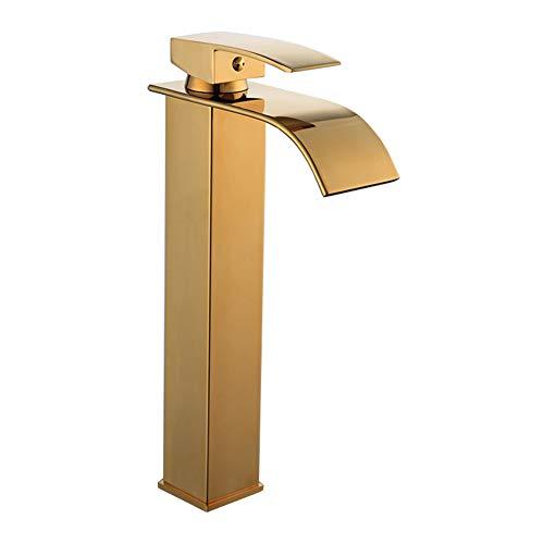 Wasserfall Wasserhahn Bad, Moderner Golden Messing Waschtischarmatur Kaltes Und Heißes Wasser Vorhanden, Geeignet Für Badezimmer Und Waschbecken, Einhandmischer Waschtischarmaturen