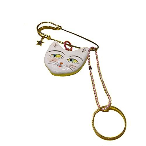 SXYB 18k Goldkatze Pin, weiße Pins Schmuck, handgemachte, importierte Ton, Nickelfrei, 3D handgemalte Katzenmuster, Bleifrei, zum Geburtstag, Party, Weihnachten und andere Gelegenheit