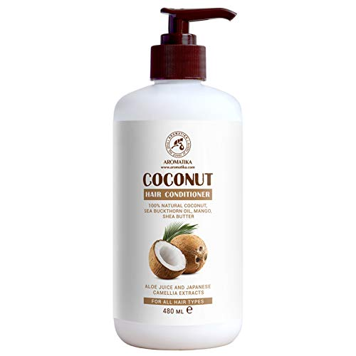Coconut Haare Conditioner 480ml - 100% Natürliches Haarspülung mit Kokosöl - Spülung für Wachstum und Volumen für alle Haartypen - Frei von Sulfat und Parabene