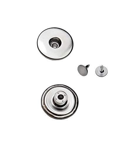 Ista Tools Jeansknöpfe Metallknopfe mit beweglichem Sockel Rostfrei in 14mm, 17mm und 20mm zur Auswahl (10 STK. mit Nieten, 14mm Silber Nickel-frei)