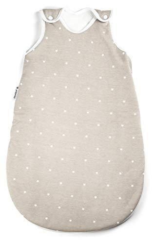 Ehrenkind® Babyschlafsack Rund | Bio-Baumwolle | Ganzjahres Schlafsack Baby Gr. 74/80 Farbe Taupe mit weißen Sternen