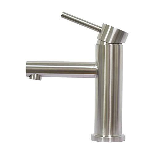Badarmatur Exquisit Waschtischarmatur für Waschraum und Bad Waschbecken RENNO Einhebel Kaltes und Warmes Wasser Verfügbar Waschtischarmatur 304 Edelstahl Gebürstet