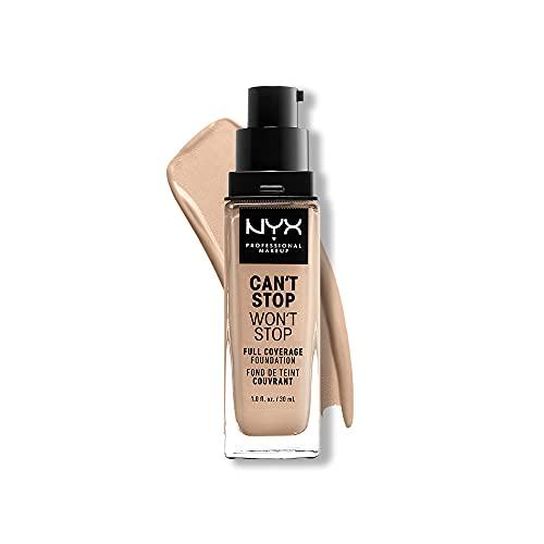 NYX Professional Makeup Can't Stop Won't Stop Full Coverage Foundation, Langanhaltend, Wasserfest, Vegane Formel, Mattierter Teint, Farbton: Light ivory
