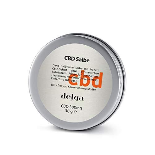 CBD Salbe 100%Bio für die geschädigte Haut-Psoriasis, Ekzemen, Hautausschlag, Neurodermitis, Akne ultrareinem CBD 300mg zur täglichen Pflege für geschädigte Bereiche Frei von Konservierungsstoffen 30g
