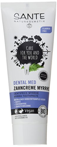 SANTE Naturkosmetik Dental med Zahncreme Myrrhe, Ohne Natriumfluorid & Menthol, Vegan, Bio-Extrakte, Natürliche Zahnpflege, 75ml