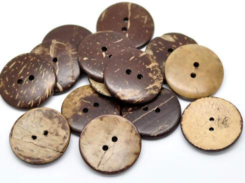 Handarbeit-Lieblingsladen 30 Kokosnuss Knöpfe zum aufnähen - Ø 2,3 cm - 2 Löcher - Braun basteln Knöpfe