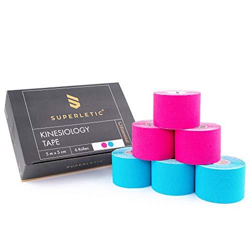SUPERLETIC® Kinesiologie Tape Essential [5m x 5cm] Kinesiology Tape - Langer halt I Wasserfest I Elastisch I Physio Tape I Sport Tape I Tape Band