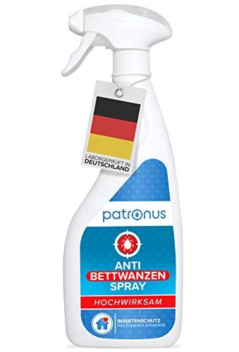 Patronus Anti Bettwanzen-Spray zur Bettwanzen-Bekämpfung 500ml - biologisch abbaubares Mittel gegen Bettwanzen - geruchsneutral, hochwirksam und laborgeprüft
