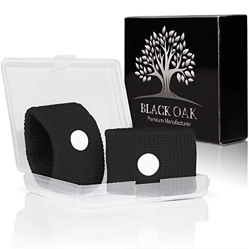 Black Oak [2 Stück] Akupressur Armband - hochwertige Akupressurarmbänder gegen Übelkeit - natürliche Alternative während der Schwangerschaft   wiederverwendbar