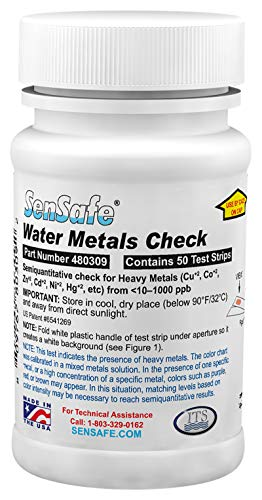 Trinkwasser Wassertest für Metalle (misst Gesamtmenge von Metallen wie Kupfer Cu+2, Kobalt Co+2, Zink Zn+2, Kadmium+2, Nickel Ni+2, Blei Pb+2, Quecksilber Hg+2) schnelle Ergebnisse (50 Teststreifen)