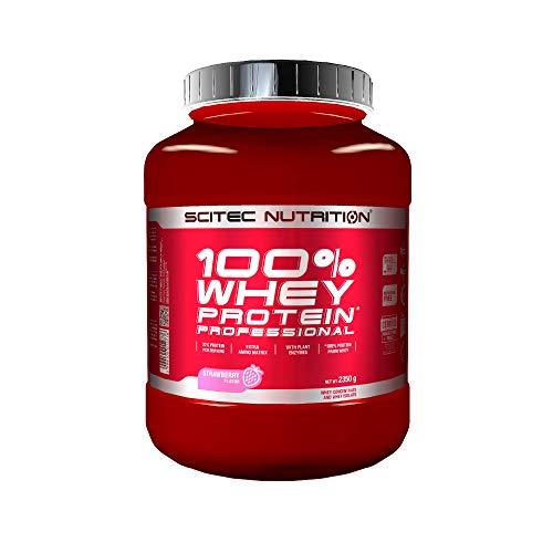 Scitec Nutrition 100% Whey Protein Professional mit extra zusätzlichen Aminosäuren und Verdauungsenzymen, glutenfrei, 2.35 kg, Erdbeere