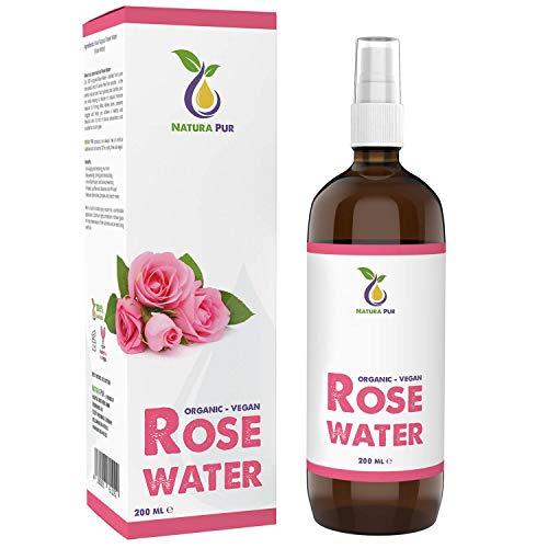 Rosenwasser BIO 200ml - 100% natürlich, vegan, in Glasflasche - Naturkosmetik Gesichtswasser ohne Alkohol - gegen unreine Haut, Pickel und Akne sowie zum Abschminken