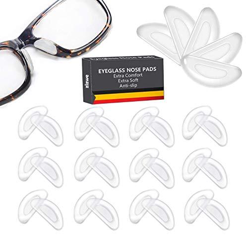 12 Paare Brille Nasenpads Silikon, D Form Stick Brille Nasen Pads, Rutschfeste Selbstklebende Nasenpads, 16 mm (Klar)