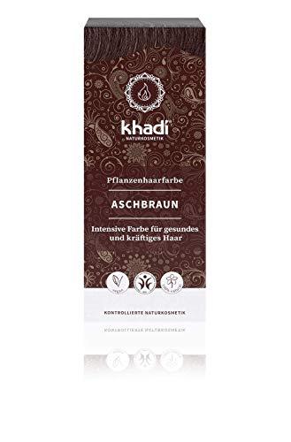 khadi Pflanzenhaarfarbe Aschbraun I Haarfarbe für mattes und mittleres Braun I Naturhaarfarbe 100% pflanzlich & vegan I Zertifizierte Naturkosmetik I 100g