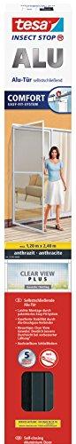 tesa Insect Stop ALU COMFORT Fliegengitter für Türen XL - Insektengitter mit Aluminium-Rahmen & Clear View - Tür Insektenschutz - Anthrazit, 120 cm x 240 cm