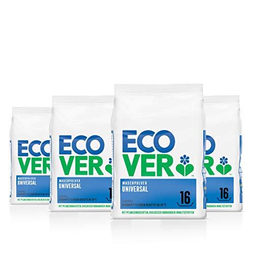 Ecover Universal Waschpulver Konzentrat Lavendel (4x 1,2 kg / 64 Waschladungen), Vollwaschmittel mit pflanzenbasierten Inhaltsstoffen, Waschmittel Pulver für saubere Wäsche ab 30°C
