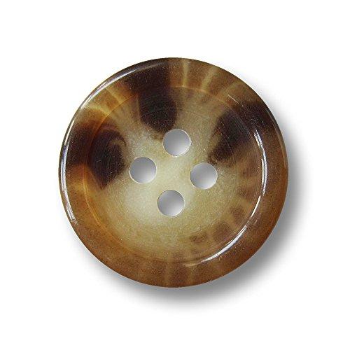 Knopfparadies - 15er Set günstige Klassische Vierloch Kunststoff Knöpfe in Horn Optik/Dunkelbraun, mittelbraun, naturweiß meliert, halbtransparent/Kunststoffknöpfe/Ø ca. 20mm