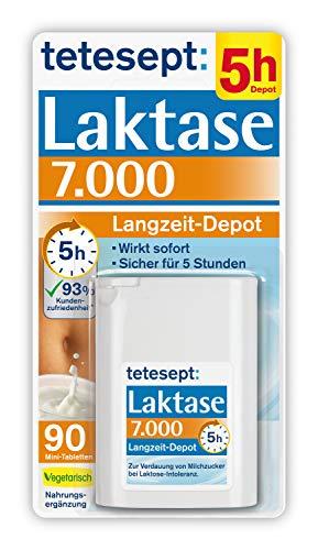 tetesept Laktase 7.000 – Laktasetabletten bei Laktoseunverträglichkeit – Nahrungsergänzungsmittel mit Sofortwirkung & 5h Langzeit-Depot – 1 Dose à 90 Stück