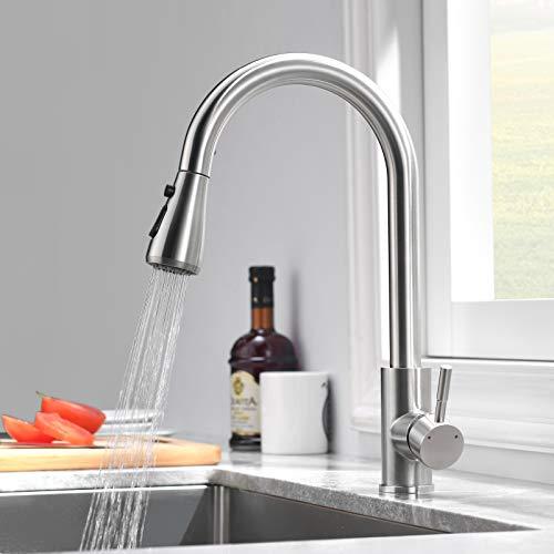 ZOOYYUE Wasserhahn Küche, 360° Arehbar Küchenarmatur, 100% Blei- und Nickelfrei Edelstahl Spültischarmatur, Küchenarmatur mit Ausziehbarer Brause Wasserhahn, PEX-Wasserhahnschlauch