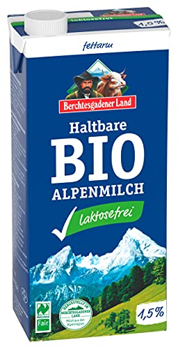 Berchtesgadener Land Bio Haltbare Bio-Alpenmilch laktosefrei 1.5% Fett, 1 l