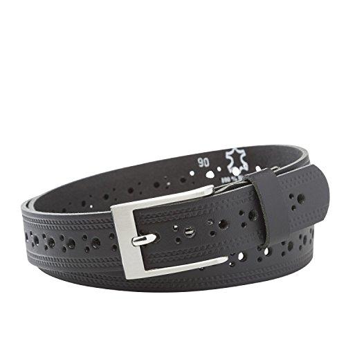 Leder Gürtel unisex PERFO schwarz Bundweite 90 - 120 cm Rindsleder buckle belt nickelfrei von INVIDA, Schwarz, XL