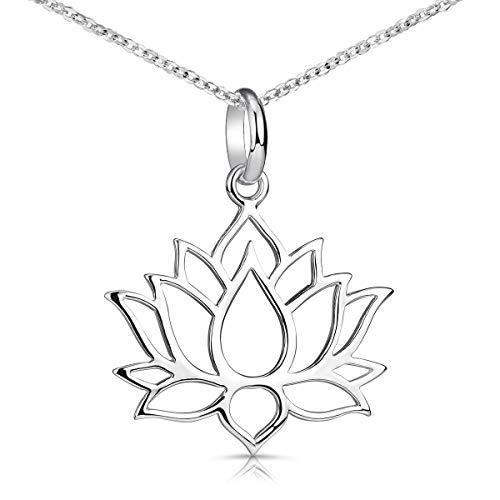 MATERIA Lotusblüte Kette Silber 925 - Lotus Schmuck Lotusblume Halskette Damen Teenager nickelfrei KA-69_K30-40cm