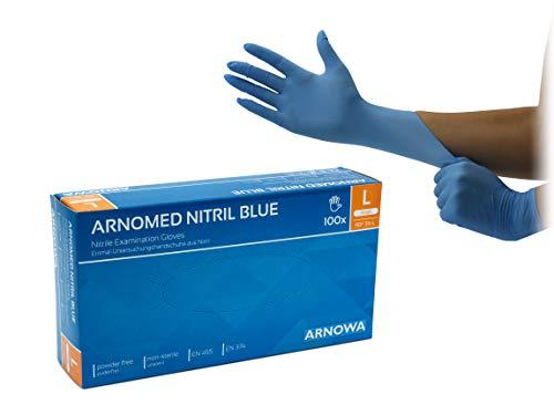 ARNOMED Nitril Einmalhandschuhe L, puderfrei, latexfrei, 100 Stück/Box, Einweghandschuhe, Blaue Nitrilhandschuhe, in Gr. S, M, L & XL verfügbar