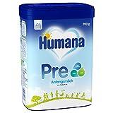 Humana Anfangsmilch PRE, Babynahrung zum Zufüttern und als alleinige Pre-Nahrung, mit wichtigen Ballaststoffen, von Geburt an, 700 g