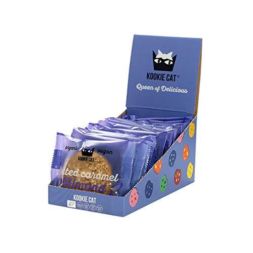 Kookie Cat Salzkaramell Mandel - Vegane Cookies Einzeln Verpackt, Glutenfrei, Sojafrei, Bio, Mandel & Hafer - 12 X 50g Multipack