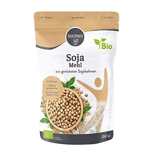 2 x borchers Bio Premium Sojamehl, Vegetarisch und Vegan, Hoher Ballaststoff- und Eiweißgehalt, aus gerösteten Sojabohnen, Eiersatz zum backen, 350 g