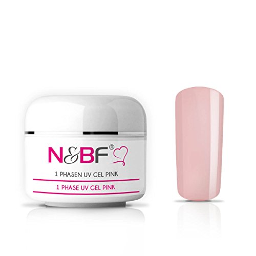 N&BF 1-Phasen UV Gel pink milchig 15ml | 3in1 Gel transparent | Made in EU | Allrounder Gel für Nägel | All in One Gel ohne Säure + selbstglättend | Einphasen Gel UV Nagelgel