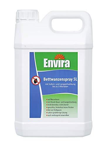 Envira Bettwanzen-Spray - Anti-Bettwanzen-Mittel Mit Langzeitwirkung - Geruchlos & Auf Wasserbasis - 5 Liter