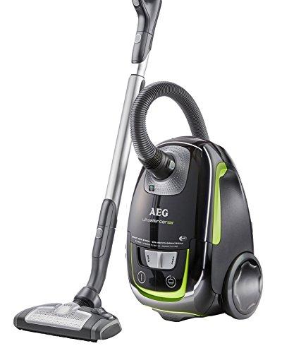 AEG UltraSilencer ÖKO USGREEN+ Staubsauger (mit Beutel, 700 Watt, 3 Düsen, waschbarer Hygiene Filter E12) schwarz/grün