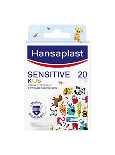 Hansaplast Kinderpflaster Sensitive (20 Strips), Wundpflaster mit niedlichen Tiermotiven zum Aufmuntern, schmerzlos zu entfernendes Pflaster Set