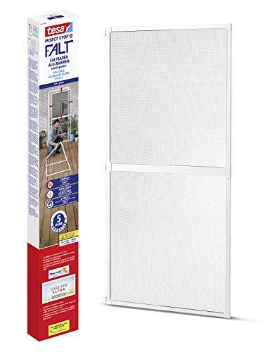 tesa Insect Stop FALT Tür - Faltbarer Alu-Rahmen mit Fliegengitter für Türen - mit verstellbarem Teleskoprahmen - Weiß - 80 cm x 170 cm bis 100x cm x 220 cm