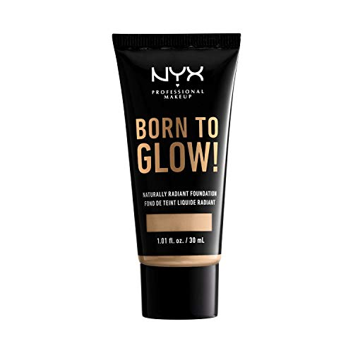 NYX Professional Makeup Born to Glow Radiant Foundation, Schillerndes Finish, Aufbaufähige mittlere Deckkraft, Vegane Formel, Farbton: Warm Vanilla