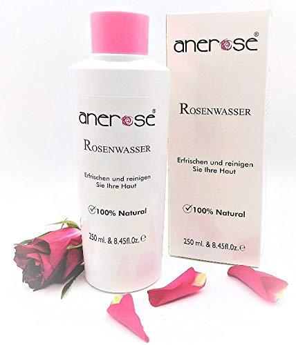 Original Anerose Rosenwasser, (1x250ml) ist 100% Natürlich und Vegan! Antibakteriell, Gesichtswasser ohne Alkohol aus Damascena Rose Hydrosol.