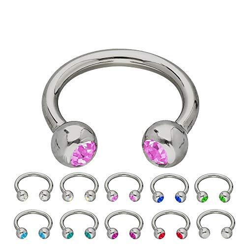 Treuheld® | Silbernes Titan Hufeisen Piercing mit Kristallen - [43.] 1.2 x 6 mm (Kugeln: 3mm) - pink/rosa