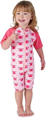 Juicy Bumbles UV Baby Badeanzug Mädchen UV Schutz - Einteiliger UV Schutzkleidung Baby - Kurzarm Sonnenanzug UPF50+ Rosa Krabben 2-3 Jahre