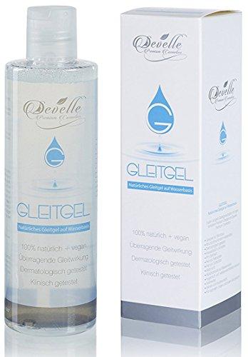 Gleitgel vegan und natürlich von Develle | Massage-Gel | Entspricht dem vaginalen ph-Wert | Premium Qualität | 250 ml